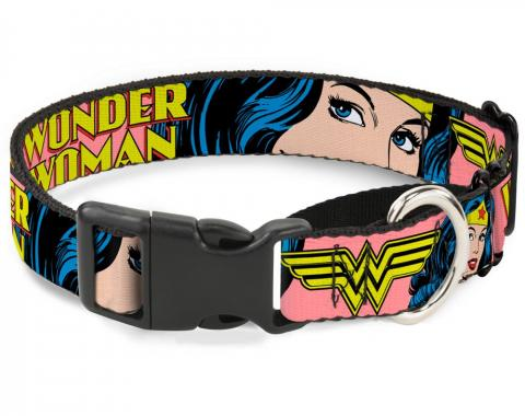 Plastic Martingale Collar - WONDER WOMAN w/Face CLOSE-UP Red