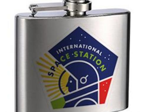 Stainless Steel Flask - 6 OZ - INTERNATIONAL SPACE STATION Pentagon Black/White/Multi Color