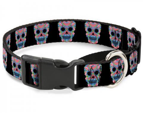 Plastic Martingale Collar - Wonder Woman Floral Skull Black/Multi Pastel