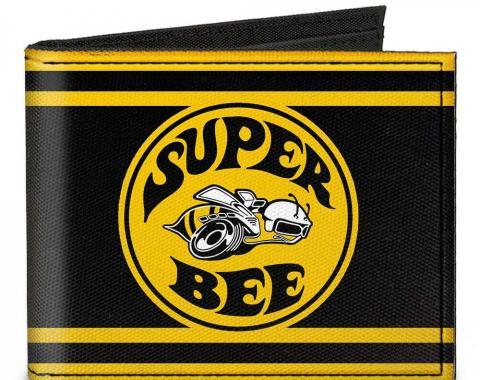 Canvas Bi-Fold Wallet - SUPER BEE Logo/Stripes Black/Yellow