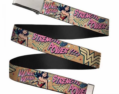 Chrome Buckle Web Belt - Wonder Woman Strength & Power Webbing
