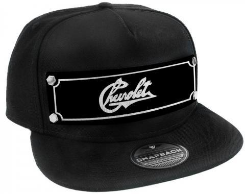 Embellishment Trucker Hat BLACK - Full Color Strap - CHEVROLET Heritage Script Black/White