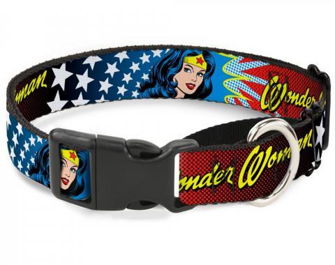 Plastic Martingale Collar - Wonder Woman Face w/Stars