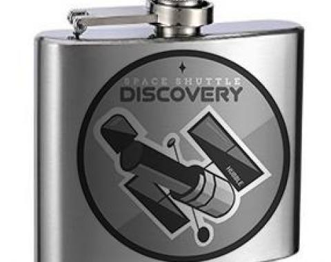 Stainless Steel Flask - 6 OZ - SPACE SHUTTLE DISCOVERY 1984-2011 Space Shuttle Tonal Grays