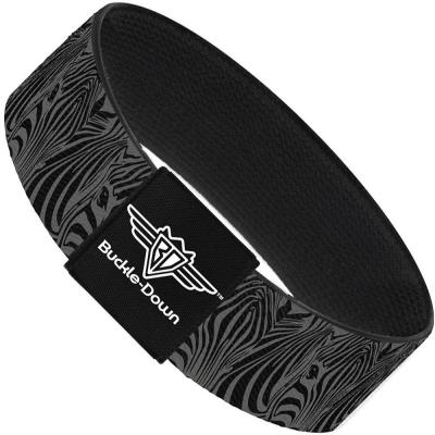 Buckle-Down Elastic Bracelet - Zebra Head Black/Gray