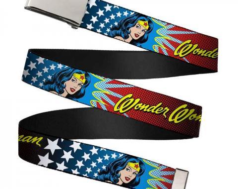 Chrome Buckle Web Belt - Wonder Woman Face w/Stars Webbing
