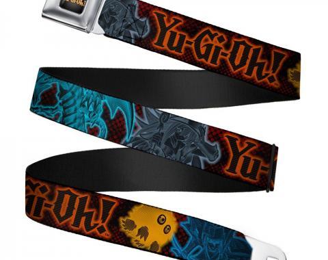 YU-GI-OH! Logo Full Color Black-Fade/Gold Seatbelt Belt - YU-Gi-Oh! 4-Character Pose Black/Red/Electric Multi Color Webbing
