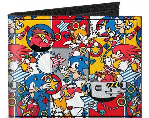 "SONIC CLASSIC  Canvas Bi-Fold Wallet - Doctor Eggman I ""HEART"" 2 POLLUTE + Flying Egg Mobile Black/Red"