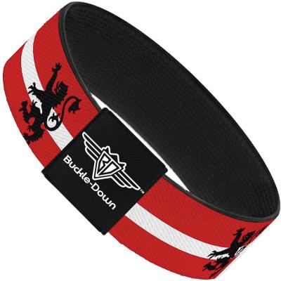 Buckle-Down Elastic Bracelet - Rampant Lion Repeat/Stripes Red/White/Black