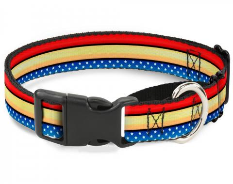Plastic Martingale Collar - Wonder Woman Stripe/Stars Red/Gold/Blue/White