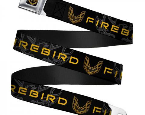 Pontiac Firebird Full Color Black/Golds Seatbelt Belt - Pontiac FIREBIRD/Logo Black/Grays/Golds Webbing