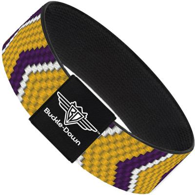 Buckle-Down Elastic Bracelet - Chevron Weave Gold/Purple/White