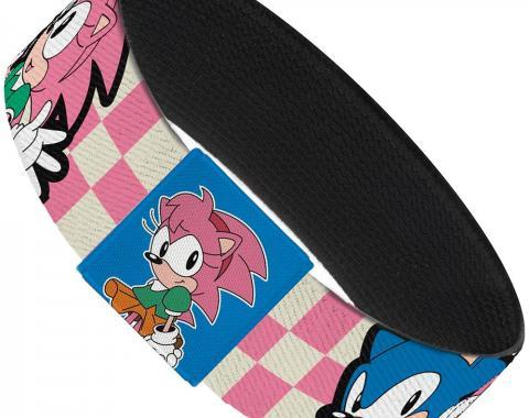 "SONIC CLASSIC  Elastic Bracelet - 1.0"" - Amy & Sonic Poses Checker Pink/White"