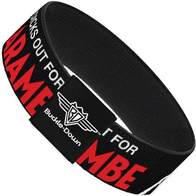 Buckle-Down Elastic Bracelet - Harambe DICKS OUT FOR HARAMBE Black/White/Red