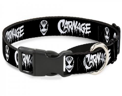 Plastic Martingale Collar - CARNAGE/Face Black/White