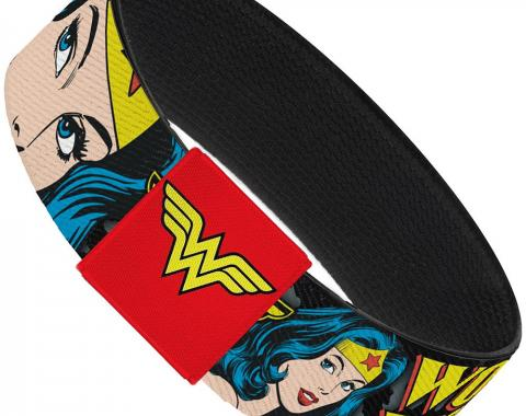 "Elastic Bracelet - 1.0"" - WONDER WOMAN w/Face CLOSE-UP Leopard Black/Gray"