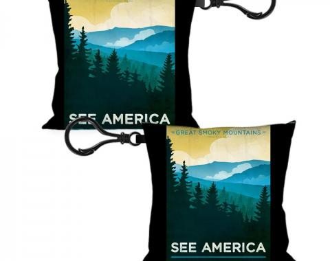 Pillow Keychain - SEE AMERICA-NC GREAT SMOKY MTNS. Landscape Yellows/Blues/White