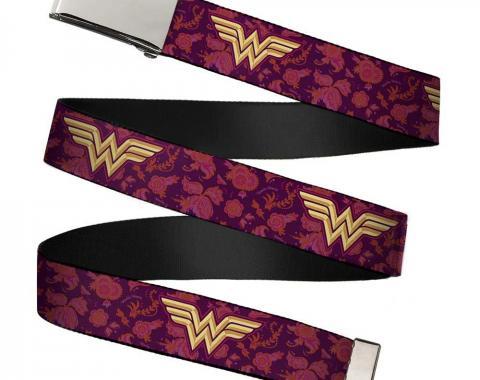 Chrome Buckle Web Belt - Wonder Woman Logo/Floral Collage Purple/Pinks/Gold Webbing