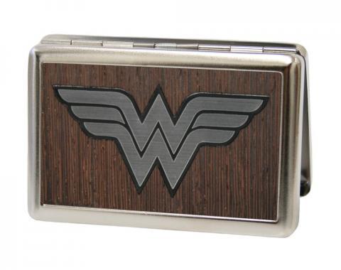Business Card Holder - LARGE - Wonder Woman Logo Marquetry Black Walnut/Metal