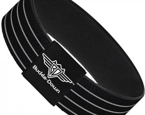 Buckle-Down Elastic Bracelet - Pinstripes Black/Gray