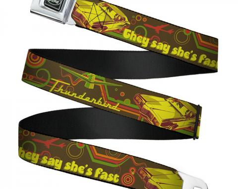 Ford Emblem Seatbelt Belt - Vintage Ford THUNDERBIRD-THEY SAY SHE'S FAST Browns/Yellows Webbing