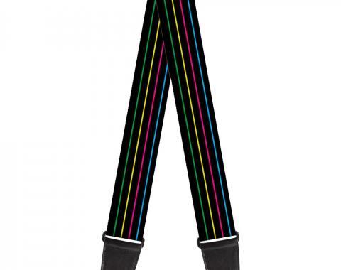 Guitar Strap - Pinstripes Black/Multi Color