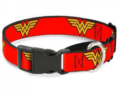 Plastic Martingale Collar - Wonder Woman Logo Red
