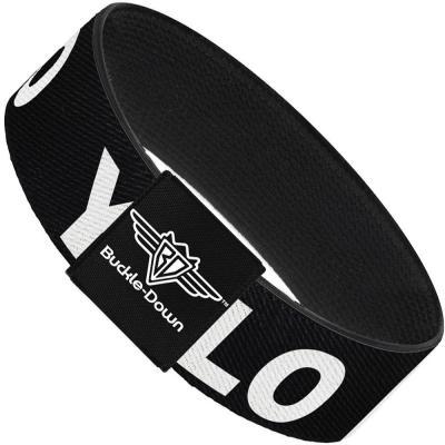 Buckle-Down Elastic Bracelet - YOLO Black/White