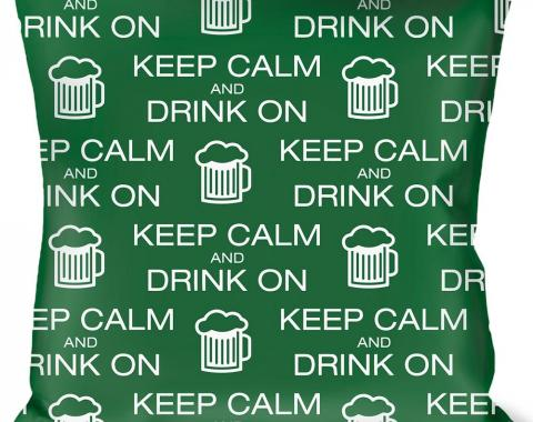 Buckle-Down Throw Pillow - KEEP CALM AND DRINK ON/Beer Green/White
