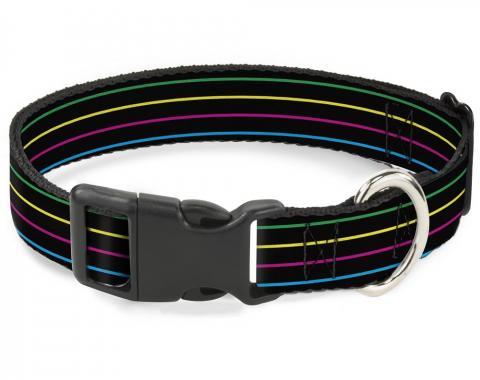 Buckle-Down Plastic Buckle Dog Collar - Pinstripes Black/Multi Color