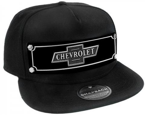 Embellishment Trucker Hat BLACK - Full Color Strap - CHEVROLET Bowtie Emblem Black/White