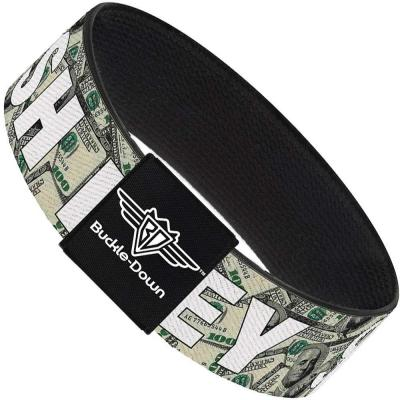 Buckle-Down Elastic Bracelet - CASH MONEY $ Dollars/White