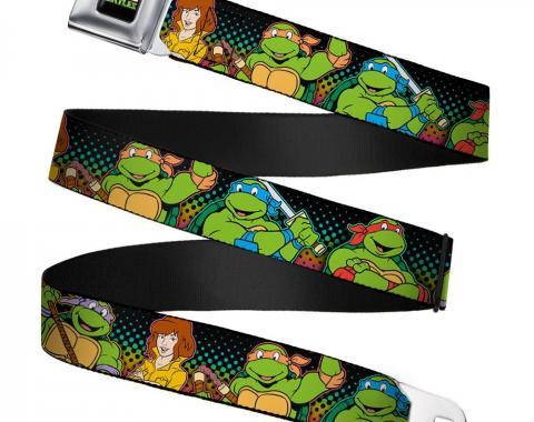 Classic TMNT Logo2 Full Color Seatbelt Belt - Classic TMNT Logo2/Turtles & April Pose Halftone Multi Color/Black Webbing