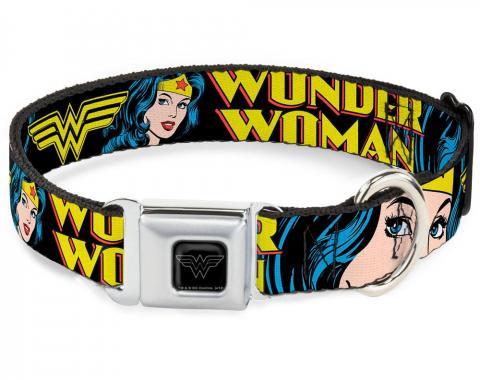 Dog Collar WWE-Wonder Woman Black/Silver - WONDER WOMAN w/Face CLOSE-UP Black