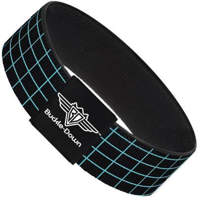 Buckle-Down Elastic Bracelet - Wire Grid Black/Blue