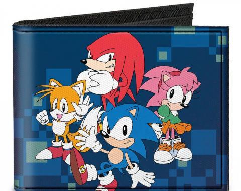 SONIC CLASSIC  Canvas Bi-Fold Wallet - Sonic 4-Character Group Pose + Doctor Eggman Digital Camo Blue