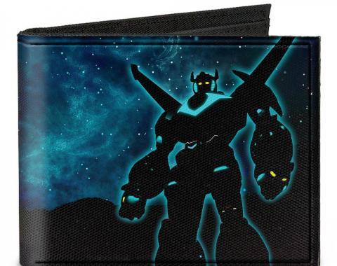 Canvas Bi-Fold Wallet - New Series Voltron Standing Pose Silhouette + VOLTRON Logo Galaxy Blues/Black