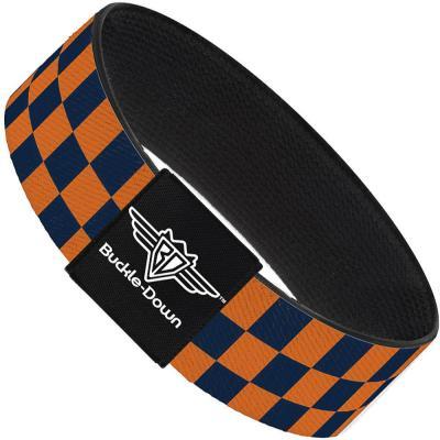 Buckle-Down Elastic Bracelet - Checker Orange/Dark Blue