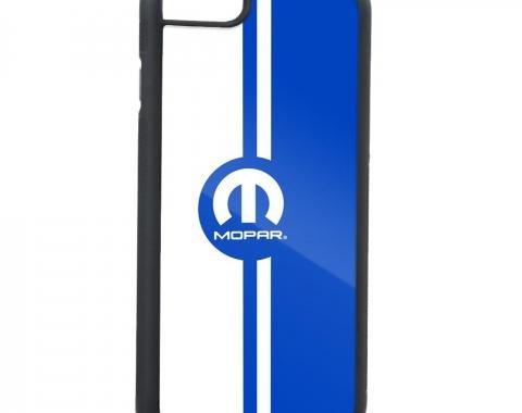 Rubber Cell Phone Case - BLACK - MOPAR Logo/Vertical Stripe FCG Blue/White