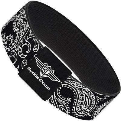 Buckle-Down Elastic Bracelet - Paisley2 Black/White