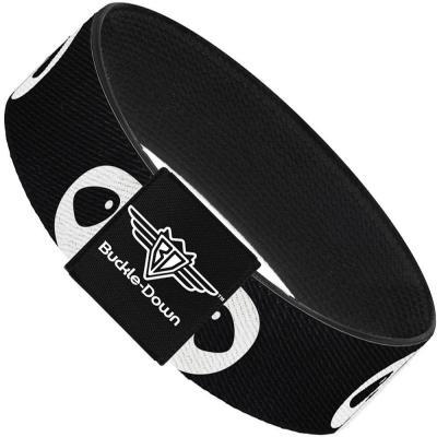 Buckle-Down Elastic Bracelet - Panda Face Black/White