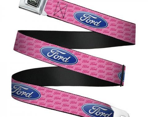 Ford Emblem Seatbelt Belt - Ford Oval w/Text PINK