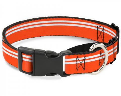 Plastic Martingale Collar - Racing Stripe Orange/White