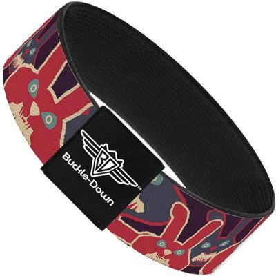 Buckle-Down Elastic Bracelet - Angry Bunnies Purple/Red/Blue