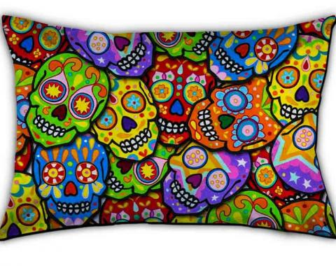 Pillowcase - STANDARD - Colorful Calaveras Stacked Multi Color