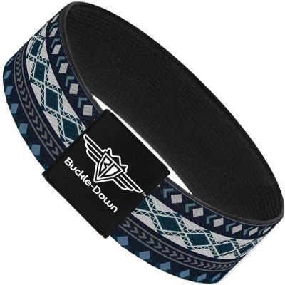 Buckle-Down Elastic Bracelet - Aztec4 Blues/White/Gray