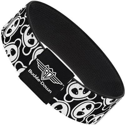 Buckle-Down Elastic Bracelet - Scattered Panda Bear Cartoon2 Black/White