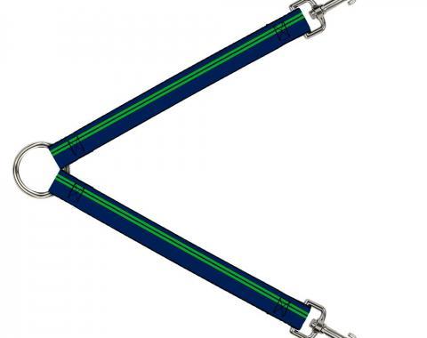 Dog Leash Splitter - Racing Stripe Navy/Bright Green