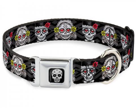 Dog Collar TYC-Sugar Skull Full Color Black/White/Gray - Los Novios Black/Gray/White/Multi Color