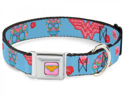 Dog Collar WWD-Wonder Woman Logo Pink/Blue/Yellow/Pink - Wonder Woman Logo & Floral Skull Baby Blue/Multi Pastel